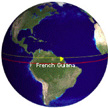 image of the earth showing French Guiana