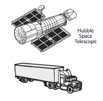 size comparison hubble and tractor trailor